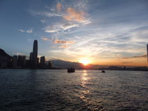 Sunset in Hong Kong Royalty Free Stock Photos