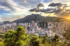 Sunset in Hong Kong, Tuen Mun. Stock Photos