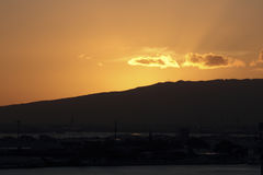 Sunset at Honolulu Harbor Royalty Free Stock Image