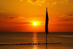 Sunset, Horizon, Afterglow, Sea Stock Images