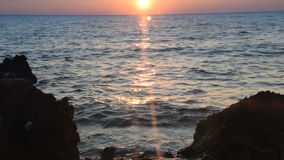 Sunset on the horizon. The beauty of a sunset at sea or sunrise, sunset on the horizon stock video footage