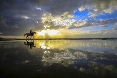 Sunset horse. Man riding off into the sunset on the beach Palestinians stock photo