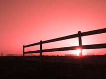 Sunset on a horse stable Royalty Free Stock Images