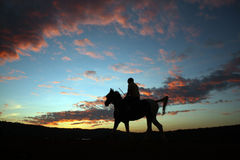 Sunset Horserider Stock Photo