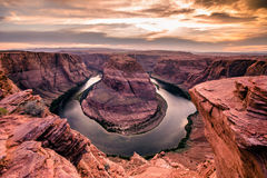 Sunset at Horseshoe Bend - Grand Canyon with Colorado River - Located in Page, Arizona, USA Stock Photo