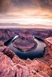 Sunset at Horseshoe Bend - Grand Canyon with Colorado River - Located in Page, Arizona, USA Stock Images