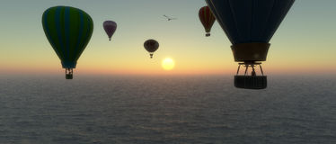 Sunset and hot air balloon Royalty Free Stock Image
