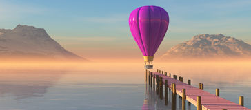 Sunset and hot air balloon Royalty Free Stock Images