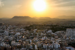Sunset hot southern sun going behind the mountains in Alicante, Spain Royalty Free Stock Images