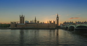 Sunset at House of parliament day to night, England stock footage