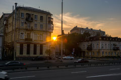 Sunset between houses in Podil, Ukraine, Kyiv. Editorial. 08.03.2017 Stock Photo