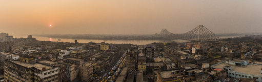 Sunset at Howrah Bridge,Kolkata,India Royalty Free Stock Images