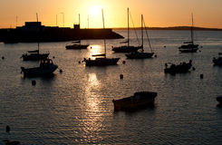 Sunset in Howth Peninsula. Beautiful sunset on the peaceful harbor at Howth, Dublin, Ireland Stock Photo