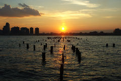 Sunset on the Hudson River. View from Manhattan's Tribeca Neighborhood Stock Image
