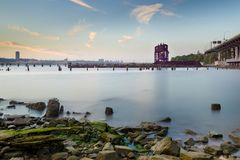 Sunset on the Hudson River Looking Towards 69th St. Transfer Bridge Royalty Free Stock Photography