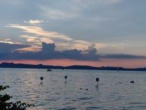 Sunset hungary balaton royalty free stock photo