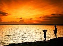 Sunset in Hungary lake Balaton Royalty Free Stock Photos