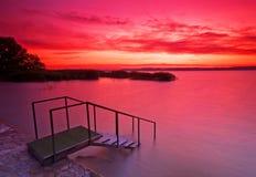 Sunset in Hungary lake Balaton Royalty Free Stock Photo
