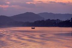 Sunset, Huong river in Vietnam Stock Photos