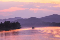 Sunset, Huong river in Vietnam Stock Photo
