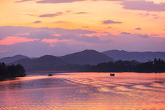 Sunset, Huong river in Vietnam Royalty Free Stock Images