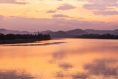 Sunset, Huong river in Vietnam Stock Images