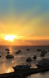 Sunset in Hurghada Egypt. Boats docked in Hurghada Egypt during sunset on the Red Sea stock photos
