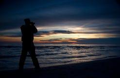 Sunset on the Huron lake. Watching the beautiful sunset on Lake Huron, Canada Royalty Free Stock Photography