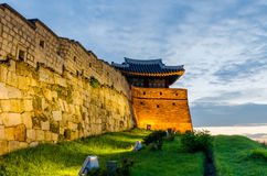 Sunset at Hwaseong Fortress in Suwon, South Korea. Stock Images