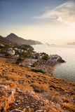 Sunset on Hydra Island, Greece. Sunset on a little village in Hydra Island, Greece stock photo