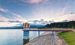 Sunset on the hydropower dams Tuyen Lam, Dalat Royalty Free Stock Photography