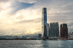 Sunset ICC. ICC Tower Kowloon Hong kong stock images