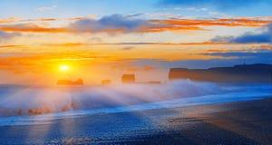 Sunset on Iceland coast Stock Image