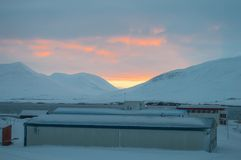 Sunset in Icelandic winter landscape Stock Photos