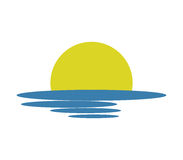 Sunset icon illustrated. On a white background Stock Photography