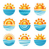 Sunset icons set vector illustration