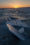 Sunset in the icy Lake Baikal, Irkutsk region, Russia Royalty Free Stock Photography