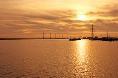 Sunset at the IJsselmeer in Netherlands Stock Images
