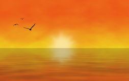 Sunset. Illustration of a Sunset/Sunrise over Sea with Seagulls Stock Image