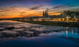 Sunset image of Blois and the Loire River, France Stock Photography