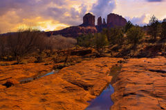 Sunset Image of Cathedral Rock. Stock Photo