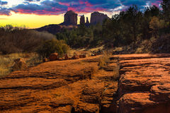 Sunset Image of Cathedral Rock. Royalty Free Stock Photography