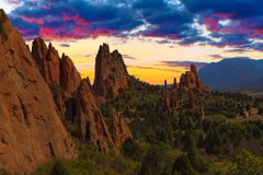 Sunset Image of the Garden of the Gods. Stock Images