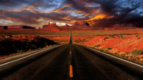 Sunset Image Of Monument Valley Stock Photo