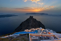 Sunset at Imerovigli , Santorini Stock Photo
