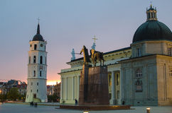 Sunset In Cathedral Square Of Vilnius, Lithuania Stock Image