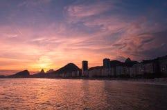 Sunset In Copacabana Beach Stock Images
