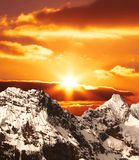 Sunset In Mountain Stock Photo