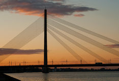 Sunset In Riga, Cable-stayed Bridge Royalty Free Stock Photography