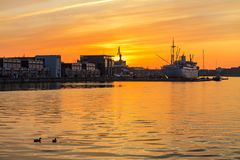 Sunset In The City Port Of Rostock, Germany Royalty Free Stock Image